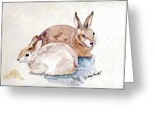 Patio Bunnies Greeting Card