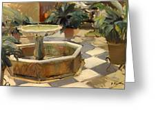 Patio Fountain In Seville Greeting Card