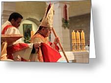 Patriarch Fouad Twal At Christmas Mass Greeting Card