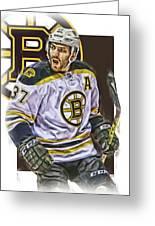 Patrice Bergeron Boston Bruins Oil Art 1 Greeting Card