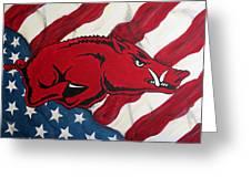 Patriot Hog Greeting Card by Nathan Grisham