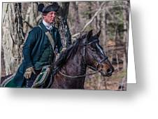 Patriot On Horse At Tower Park Battle Greeting Card