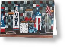Patriotic Bottles And Jars Greeting Card