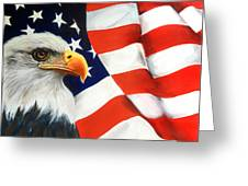 Patriotic Eagle And Flag Greeting Card