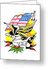Patriotic Eagle Tattoo Greeting Card