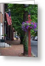 Patriotic Street In Philadelphia Greeting Card