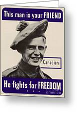 Patriotic World War 2 Poster Us Allies Canada Greeting Card