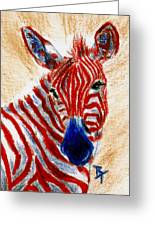 Patriotic Zebra Aceo Greeting Card