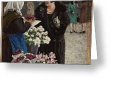 Paul Fischer, 1860-1934, Flower Market In Copenhagen Greeting Card