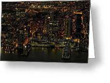 Paulus Hook, Jersey City Aerial Night View Greeting Card