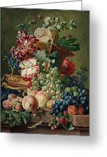 Paulus Theodorus Van Brussel - Still Life Of Flowers And Fruit On A Stone Ledge, Greeting Card