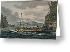 Pavel Petrovich Svinin, 1787 -1839, Steamboat Travel On The Hudson River Greeting Card