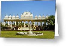 Pavilion And Fountain, Udaipur, India Greeting Card