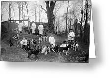 Pavlovs Dogs With Their Keepers, 1904 Greeting Card