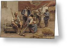 Paying The Harvesters Greeting Card by Leon Augustin Lhermitte