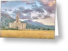 Payson Utah Lds Temple, Sunset View Of The Mountains And Grass Greeting Card