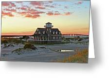 Oregon Inlet Life Saving Station 2687 Pano Signed Greeting Card