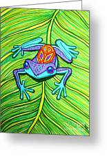 Peace Frog On A Leaf Greeting Card