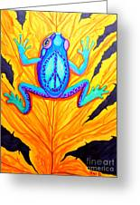 Peace Frog On Fall Leaf Greeting Card