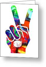 Peace Hippy Paint Hand Sign Greeting Card