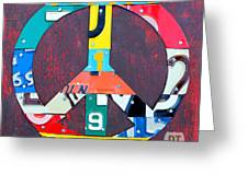Peace License Plate Art Greeting Card by Design Turnpike