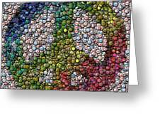 Peace Sign Bottle Cap Mosaic Greeting Card