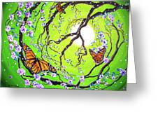 Peace Tree With Monarch Butterflies Greeting Card