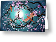 Peace Tree With Orange Dragonflies Greeting Card