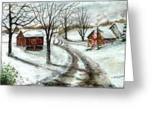 Peaceful Christmas Farm Greeting Card
