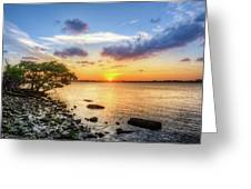 Peaceful Evening On The Waterway Greeting Card