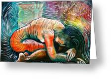 Peaceful Flow - Reclining Nude Greeting Card