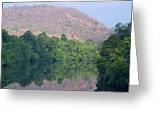 peaceful river in Sangkhlaburi in Thailand Greeting Card