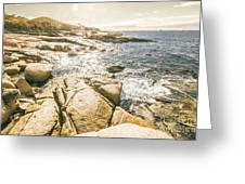 Peaceful Sun Flared Australian Coastline Greeting Card