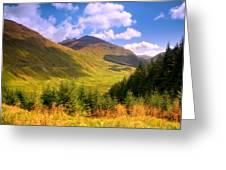 Peaceful Sunny Day In Mountains. Rest And Be Thankful. Scotland Greeting Card by Jenny Rainbow