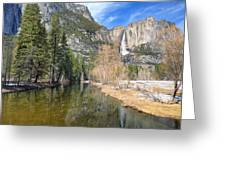 Peaceful Winter River Through Yosemite Valley Greeting Card