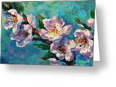 Peach Blossoms Flowers Painting Greeting Card