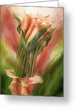 Peach Calla Lilies In Calla Vase Greeting Card