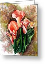 Peach Callas Greeting Card