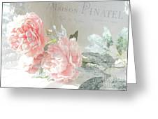 Peach Peonies Impressionistic Peony Floral Prints - French Impressionistic Peach Peony Prints Greeting Card