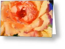 Peach Rose - Digital Painting Greeting Card
