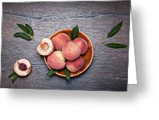 Peaches On A Dark Wooden Background Greeting Card