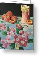 Peaches On Floral Tablecloth Greeting Card