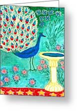 Peacock And Birdbath Greeting Card by Sushila Burgess