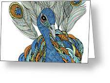 Peacock Greeting Card by Barbara McConoughey