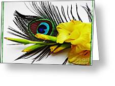 Peacock Feather And Gladiola 4 Greeting Card
