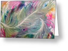 Peacock Feathers Pastel Greeting Card