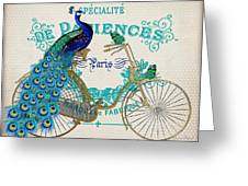 Peacock On Bicycle-jp3608 Greeting Card