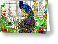 Peacock Stained Glass Greeting Card