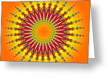 Peacock Sun Mandala Fractal Greeting Card