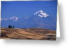 Peaks And Fields Near Cusco Peru Greeting Card